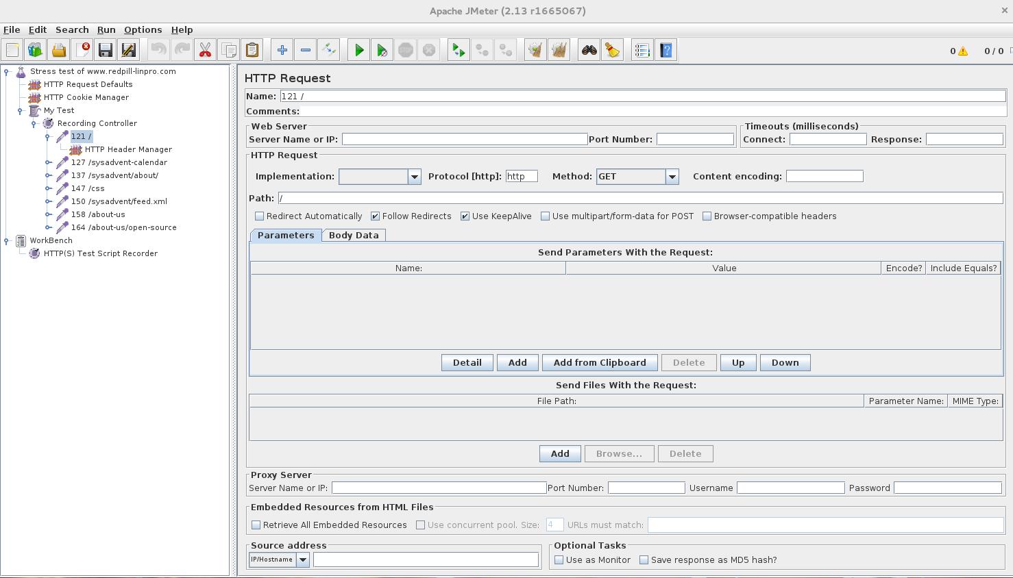 Stress testing with Apache JMeter